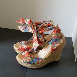UGG Tan Orange Teal Ankle Wrap Wedge Sandals